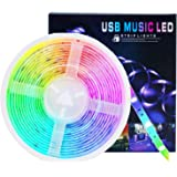 AMEXI LED Strip Light,Music LED Light Strip Smart Color-Changing Rope Light, 16.4ft / 5M SMD 5050 RGB Light bar Suitable for