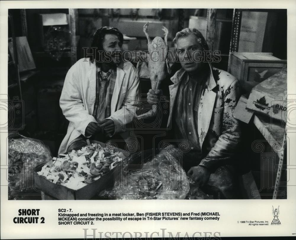 1989 Press Photo Fisher Stevens And Michael Mckean Star Shortcircuit2 In Short Circuit 2 Photographs