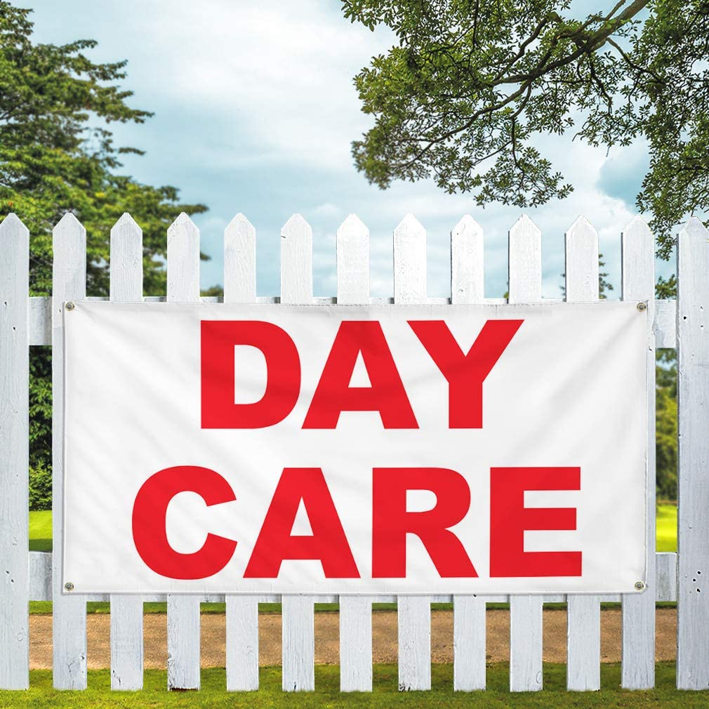 Vinyl Banner Multiple Sizes Day Care Red Education Outdoor Weatherproof Industrial Yard Signs 8 Grommets 48x96Inches