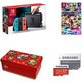 Nintendo Switch Joy-Con (L) ネオンブルー/ (R) ネオンレッド+マリオカート8 デラックス+【Amazon.co.jp限定】ギフトラッピングキット【大】 (BOX仕様:マリオキャラクターver.) +Samsung microSDXCカード 128GB EVO Plus MB-MC128GA/ECO【オリジナルマリオグッズが抽選で当たるシリアルコード配信(2018/1/8注文分まで)】