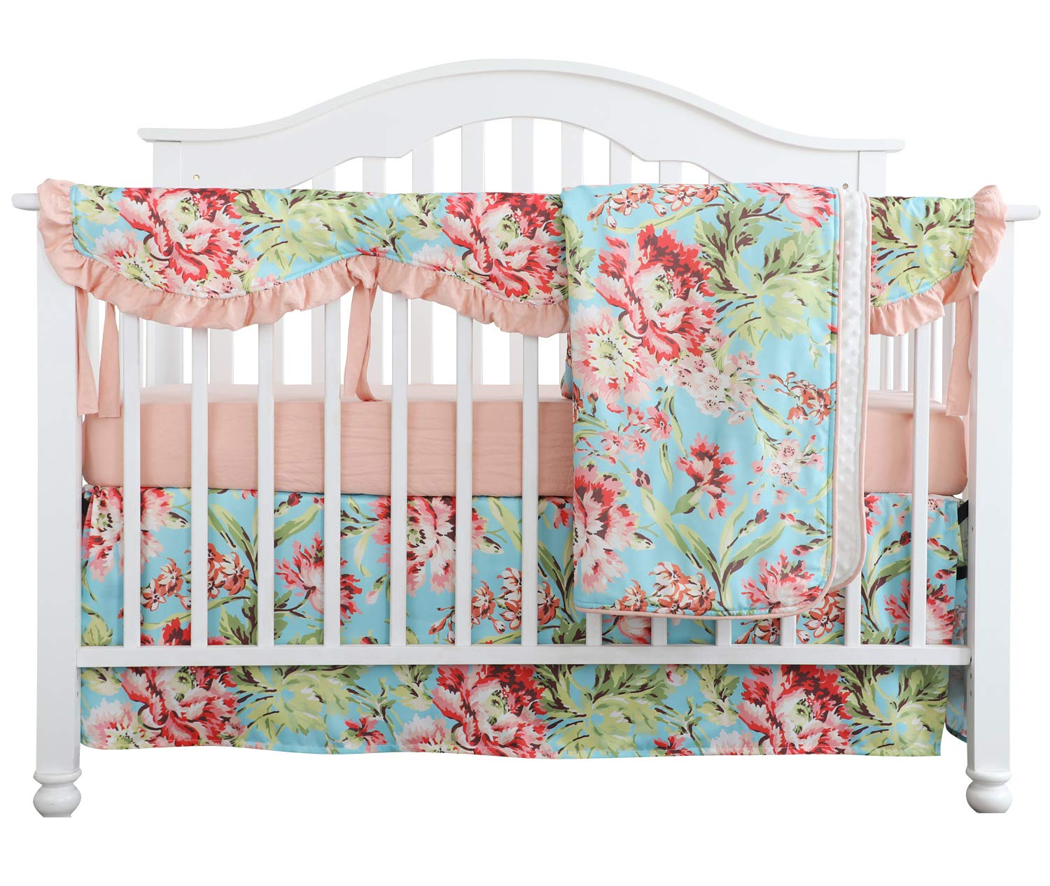 Crib Rail Guard Set Boho Floral Nursery Baby Bedding Ruffled Crib Skirt Crib Rail Cover Set (Ruffle Teal Floral)