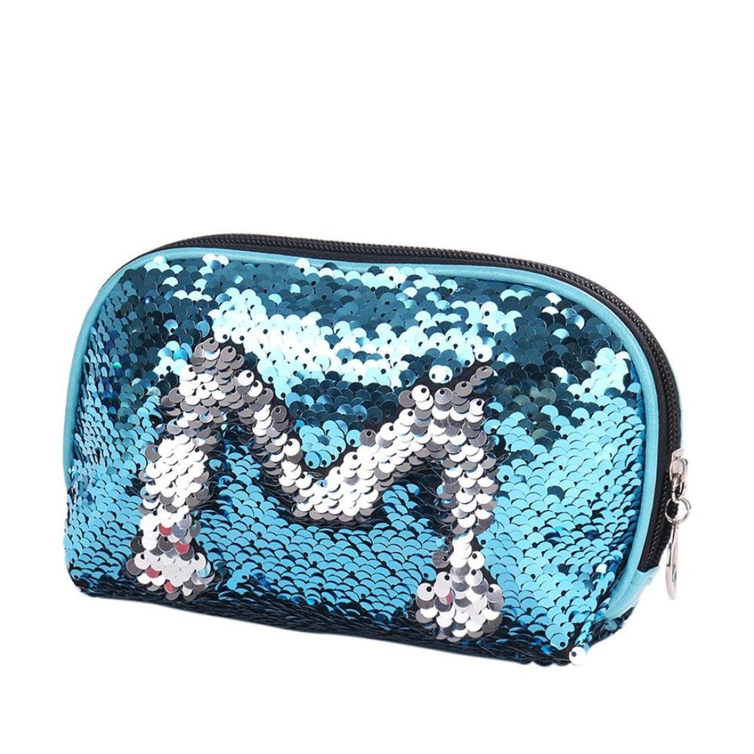 YJYdada Mermaid Sequin Pencil Case Cosmetic Makeup Coin Pouch Storage Zipper Purse (Sky Blue)