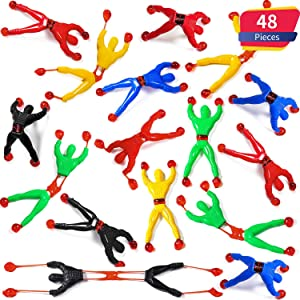 Blulu 48 Pieces Window Crawler Men, Multicolored Sticky Wall Climbers Rolling Men Novelty Stretchy Sticky Toys for Party Favor (48 Pieces)