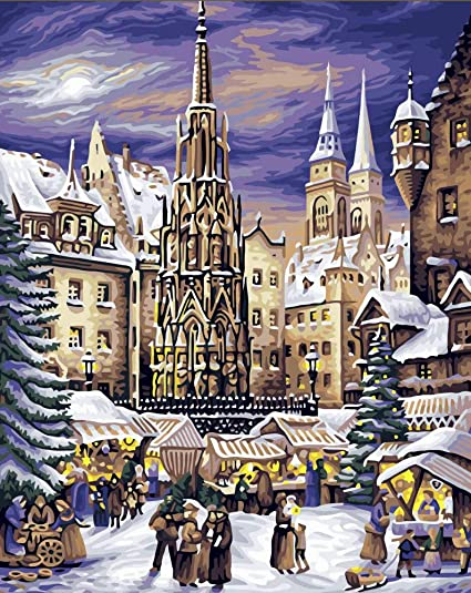 Nuremberg Christmas Market.Amazon Com Wanghan Painting By Number Nuremberg Christmas
