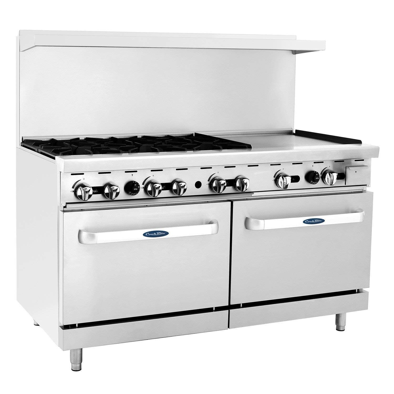 "CookRite Commercial ATO-6B24G Natural Gas Range 6 Burner Hot Plate with 24"" Manual Griddle 2 Standard Ovens 60"