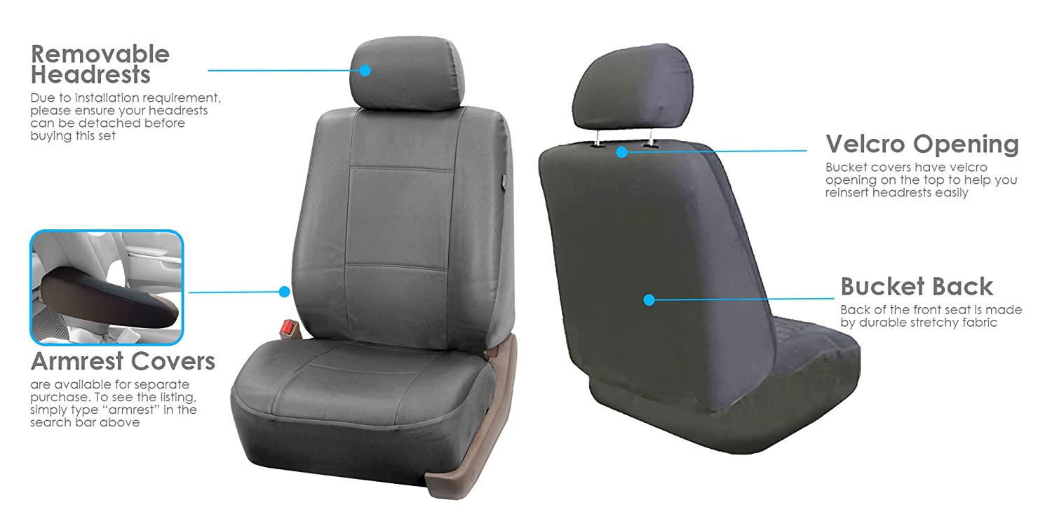 FH-PU001 PU Leather Car Seat Covers Solid Black Color FH Group