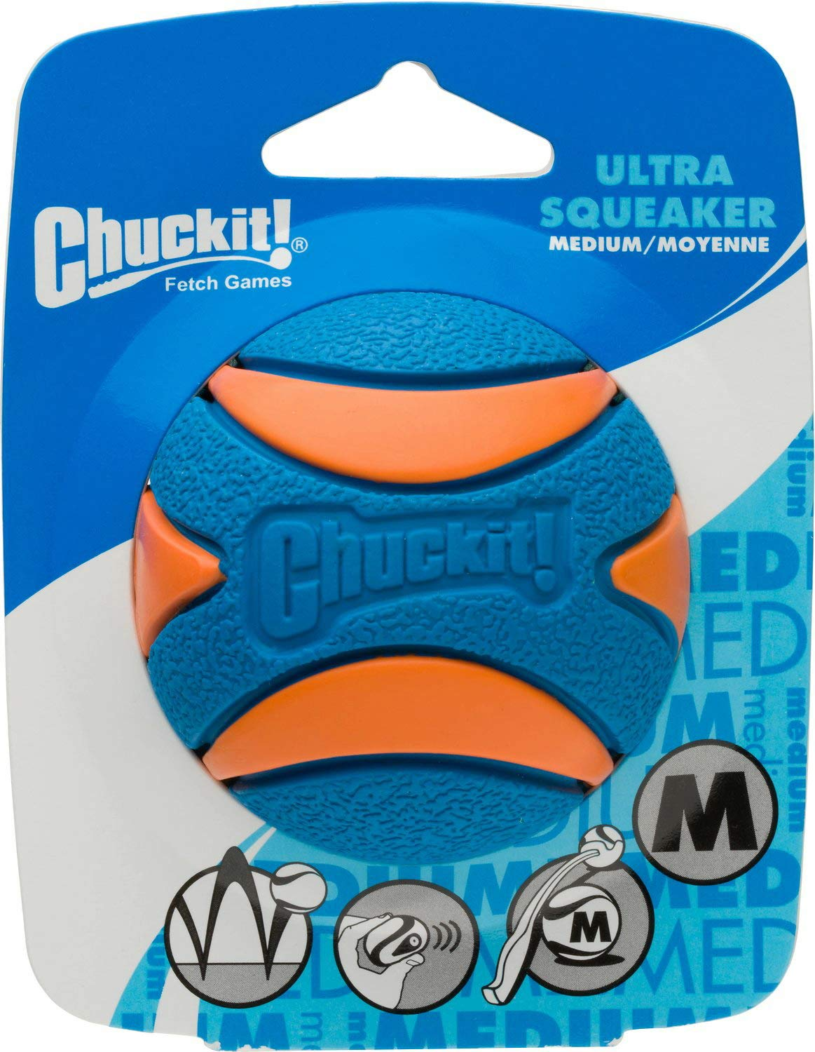Chuckit! Ultra Squeaker Ball Orange & Blue, Medium 12ct (12 x 1ct)