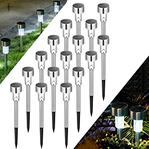 Solpex 16 Pack Solar Lights Outdoor Pathway ,Solar Walkway Lights Outdoor,Garden Led Lights for Landscape/ Patio/Lawn/Yard/Driveway-Cold White (Stainless Steel)