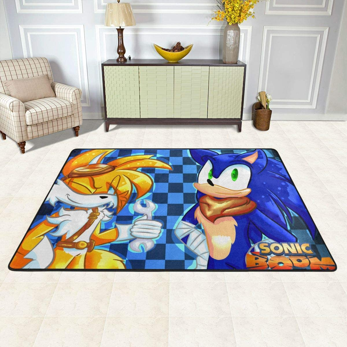 Angela R Mathews Sonic Boom-Sonic and Tail Non-Slip Carpet Area Rug Modern Flannel Microfiber Anime Cartoon Rectangle Carpet Decor Floor Rug Living Room,Bedroom,Study Floor Mat 6 X 4