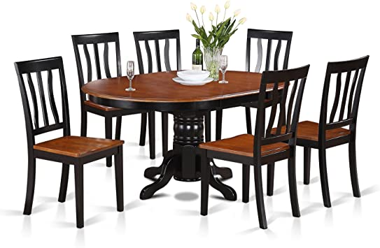 Amazon Com East West Furniture Avat7 Blk W 7 Piece Dining Table Set 6 Great Kitchen Chairs A Beautiful Round Kitchen Table Wooden Seat And Black And Cherry Mid Century Butterfly Leaf Dining Table Table