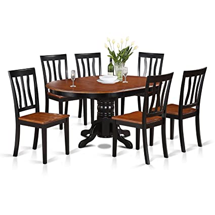 eb7f8ef5510314 Amazon.com: East West Furniture AVAT7-BLK-W 7-Piece Dining Table Set:  Kitchen & Dining
