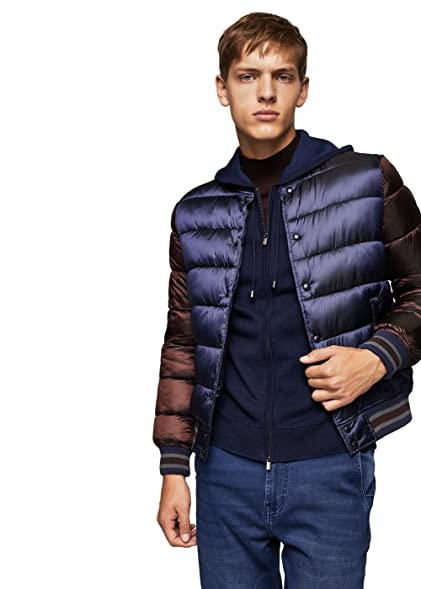 He By Mango Mango Mens Quilted Bomber Jacket At Amazon Mens