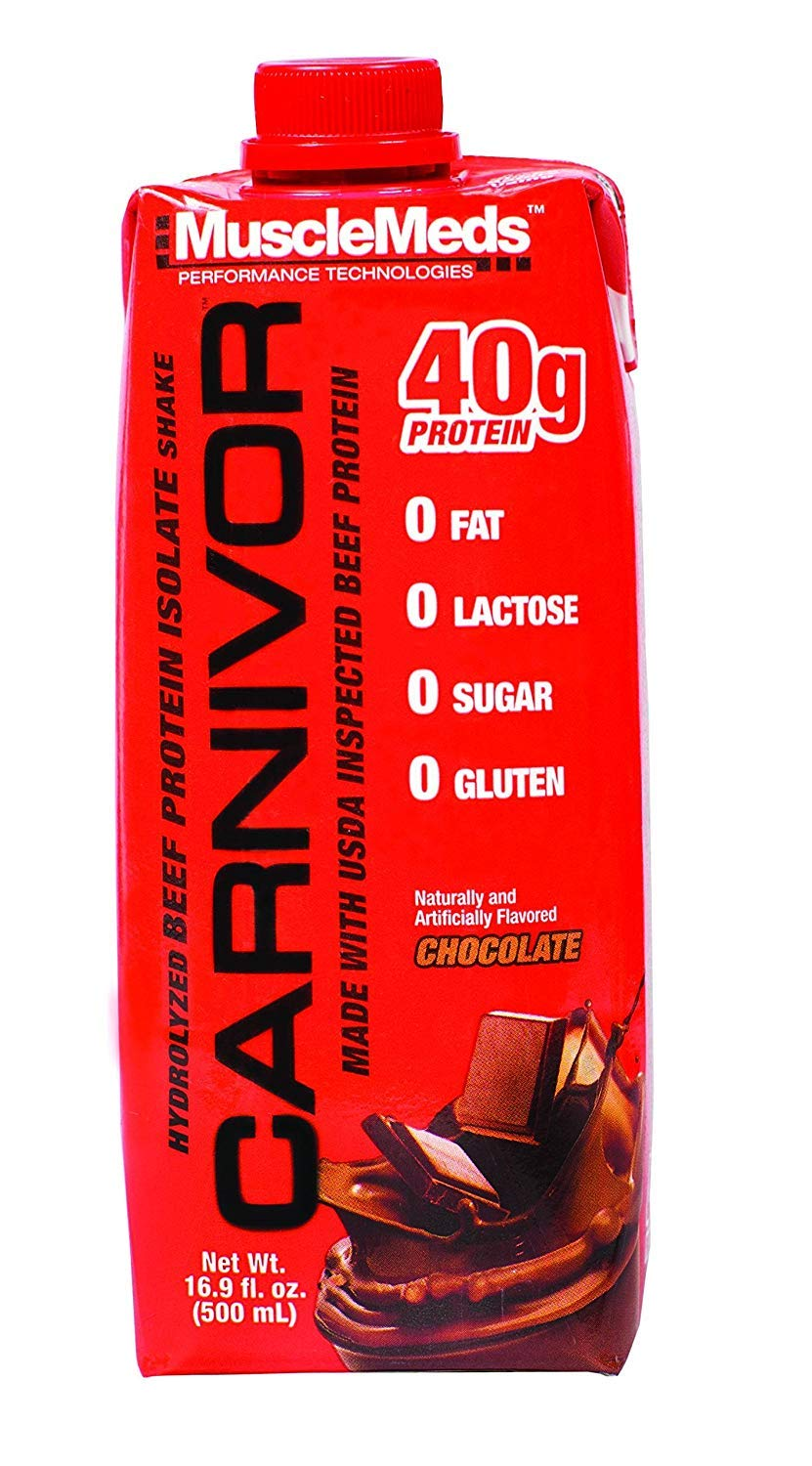 MuscleMeds Carnivor Ready to Drink Protein, Chocolate, 16.9 Ounce, 12 Count
