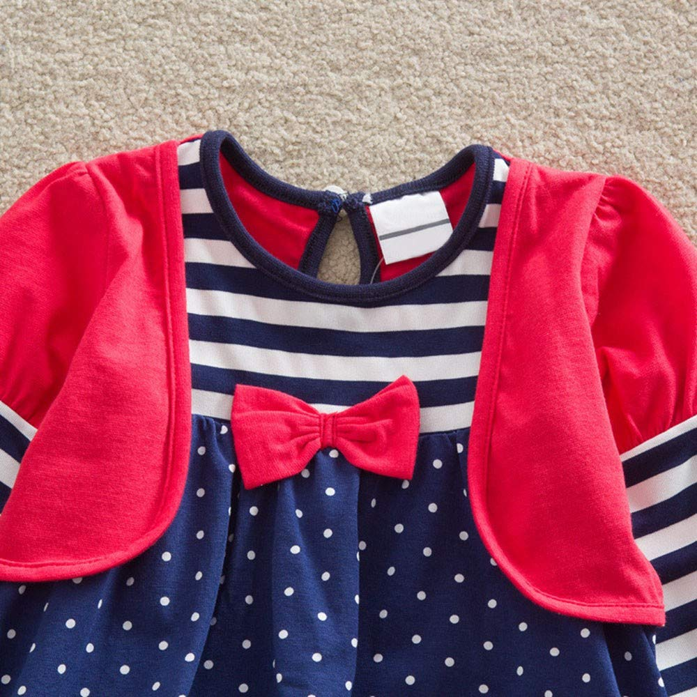 Baby Girls Long Sleeve Stripe Dot Cartoon Owl Party Dress Outfits Clothes