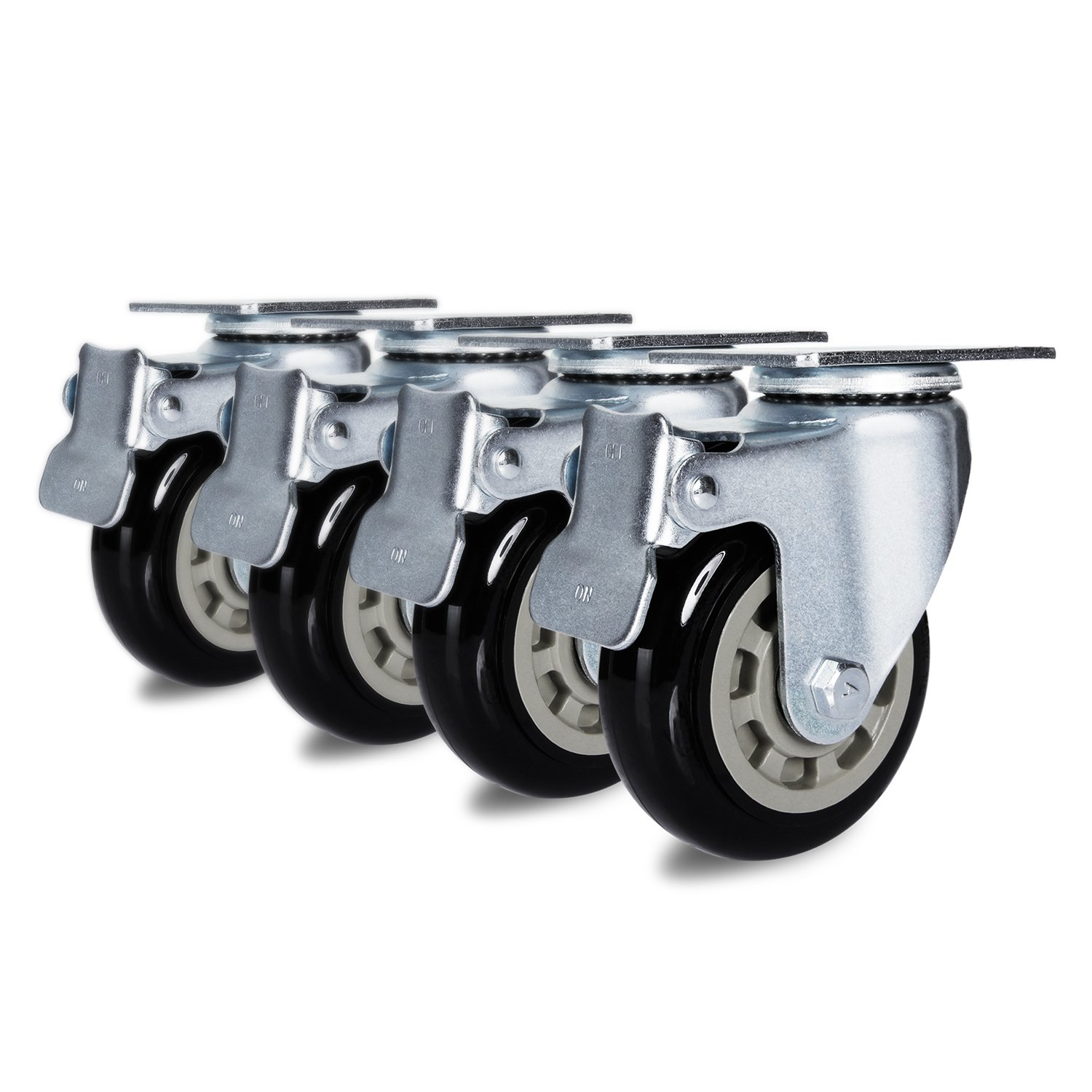 Antaprcis Caster Wheel Heavy Duty Swivel Wheels 360 Degree with Plate and Brake 4 Inches Set of 4 by Antaprcis (Image #1)