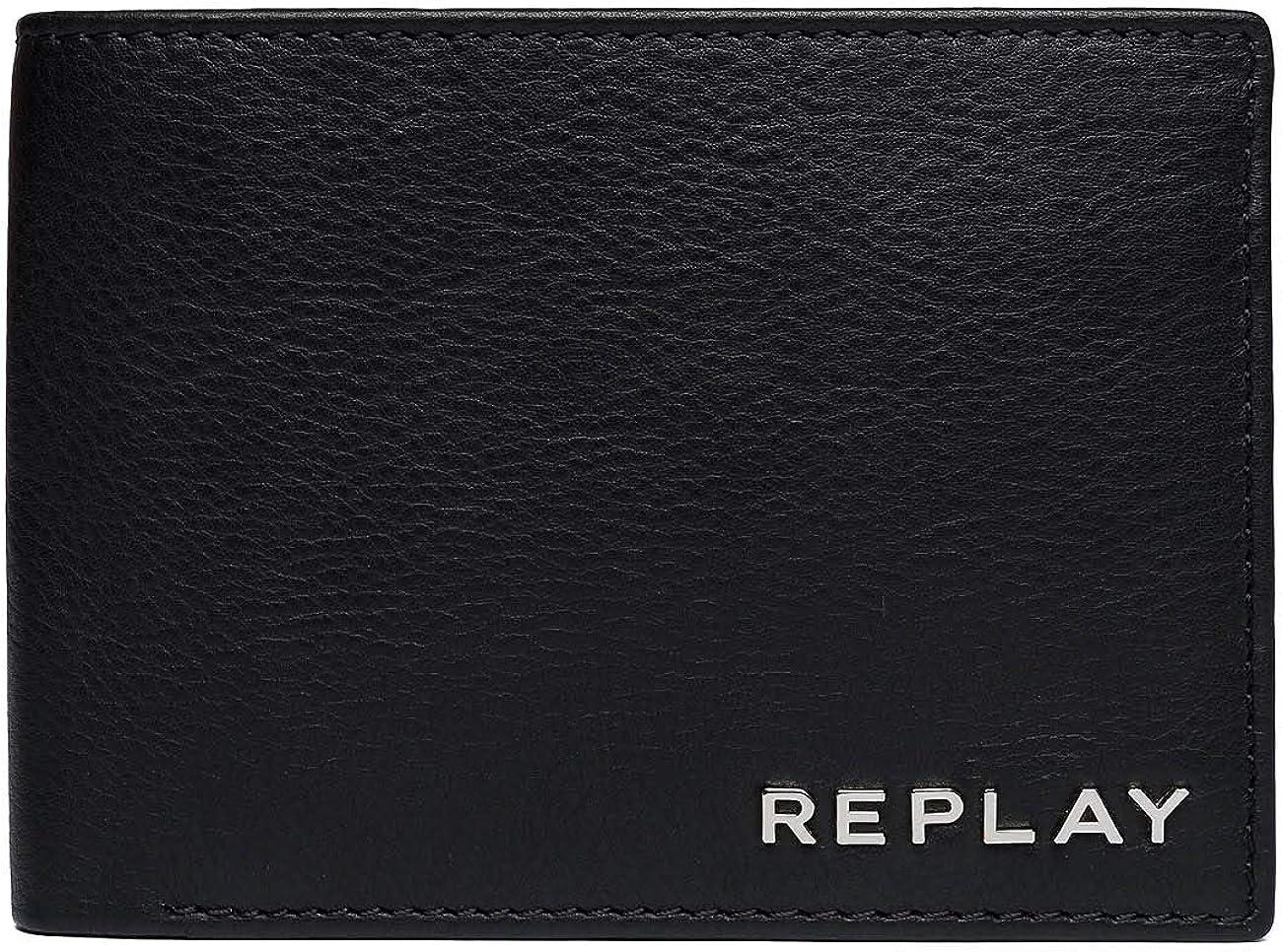 REPLAY Billetera De Cuero Bi-fold Premium, Negro