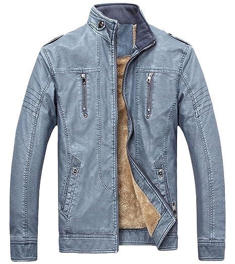 0d9f63cd8 chouyatou Men's Vintage Full Zip Distressed Sherpa Lined Faux Leather Biker  Jacket