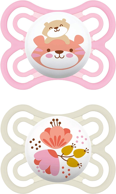 MAM Juego de 2 chupetes Perfect para el desarrollo saludable de los dientes y la mandíbula, chupete de bebé hecho de silicona especial MAM SkinSoft con caja para chupete, 0 – 6 meses, tigre y flor