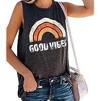 Voqeen Chaleco Sin Mangas para Mujer Cuello Redondo Buenas Vibes Arcoiris Impreso Casual Adolescentes Camiseta para…