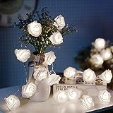 JMEXSUSS 16.4ft 30 LED White Rose Flower String Lights Battery Operated Rose String Lights with Remote Timer 8 Modes LED…