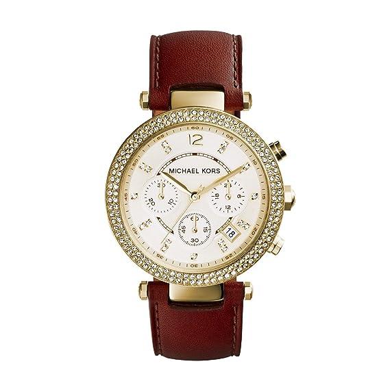 Michael Kors Parker - Reloj análogico de cuarzo con correa de cuero para mujer, color marrón/dorado: Michael Kors: Amazon.es: Relojes