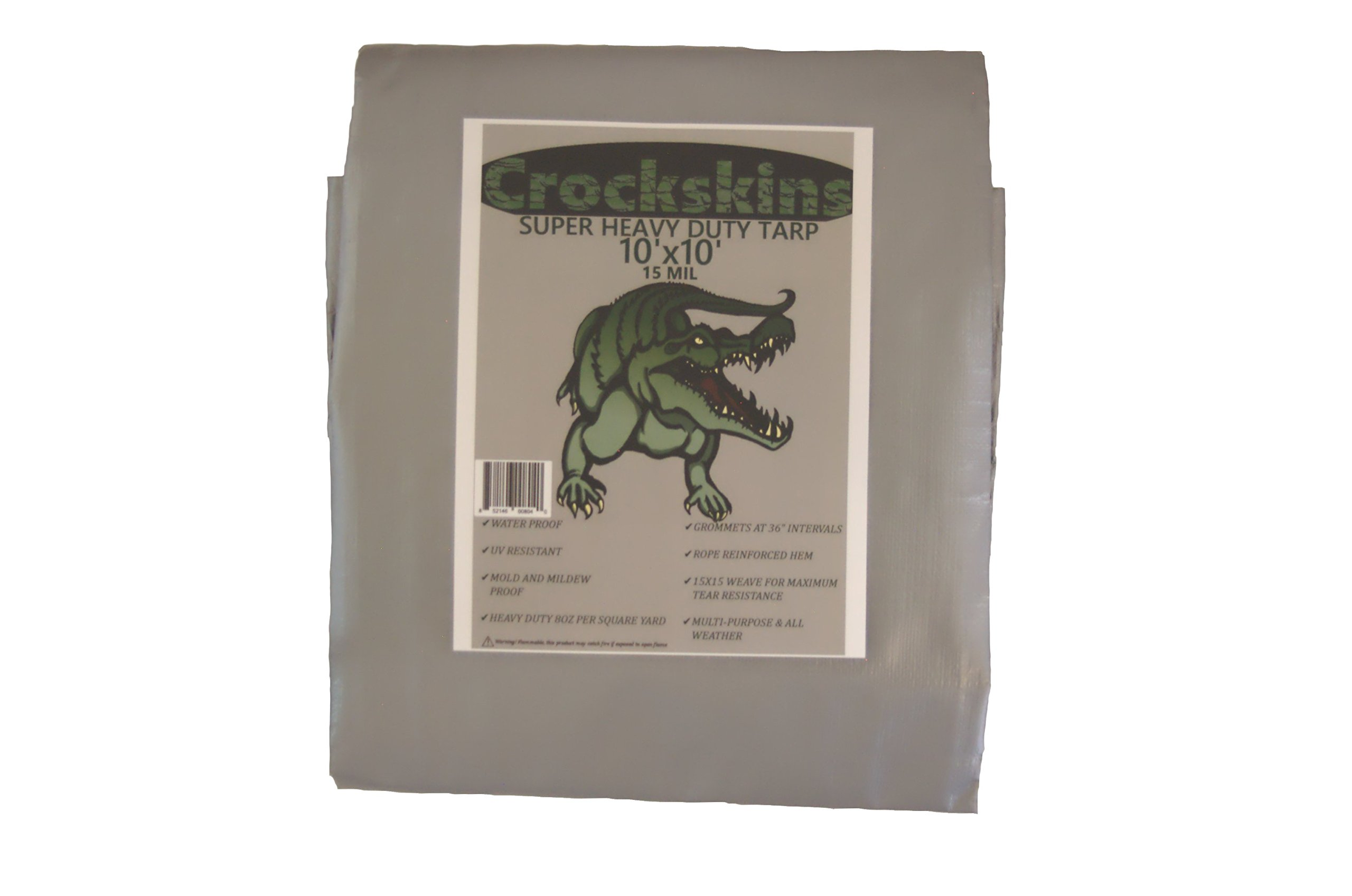 Crockskins UV Treated, Waterproof, Thick, Super Heavy Duty Tarp, Reversible Silver/Brown (10'x10')