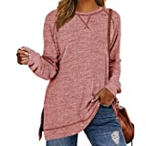 LERUCCI Womens Casual Long Sleeve Loose Pullover Side Split Tunic Tops