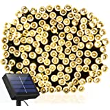 Solar String Lights 115ft 300 LED Fairy Lights, Ambiance lights for Outdoor, Patio, Lawn,Garden, Home, Wedding, Holiday, Christmas Party, Xmas Tree decoration,waterproof/Timer/USB Charge (Warm White)