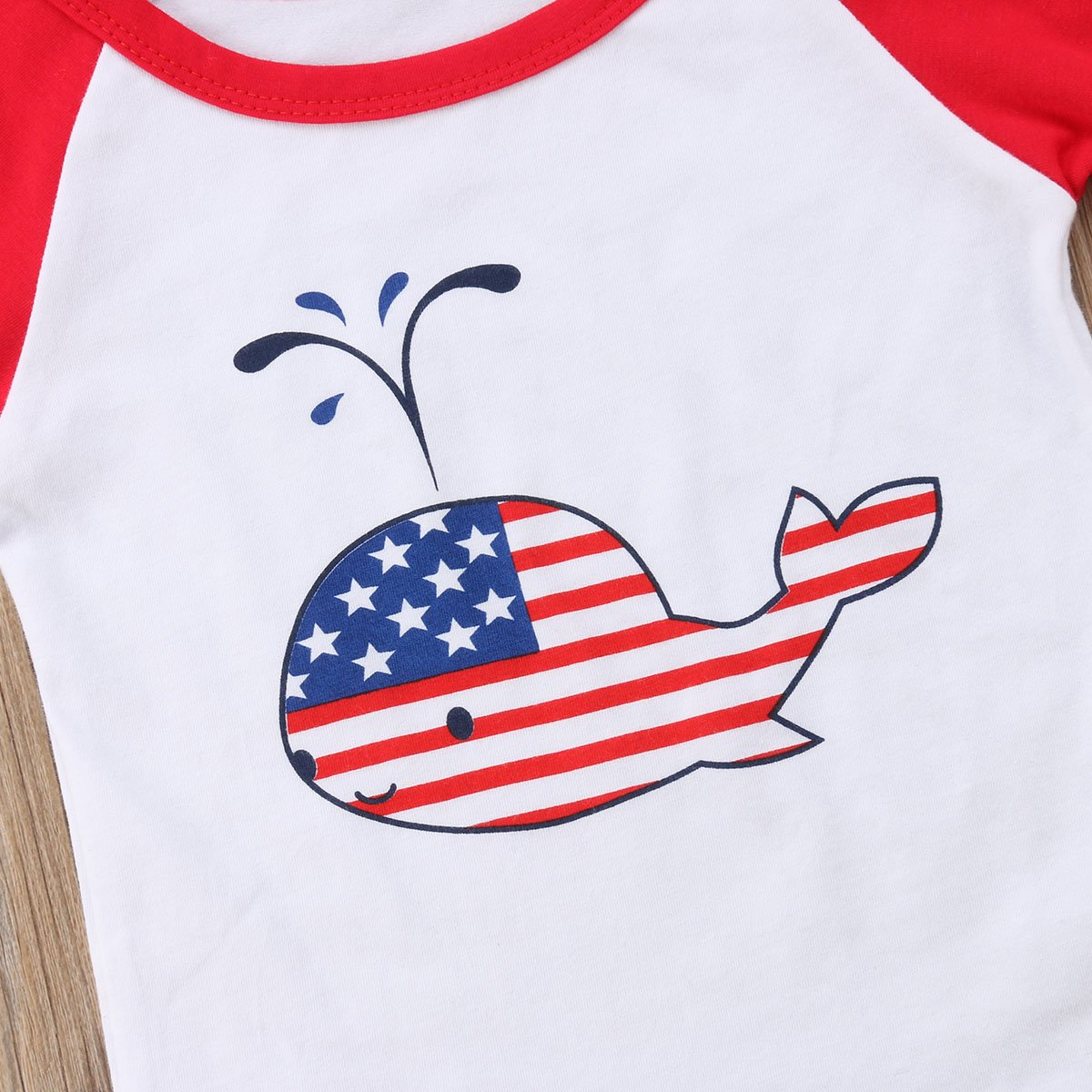 2PCS Infant Baby Girls Kids Girls Independence Day Dolphin Printed Short Sleeve T-Shirt Floral Short Pants Suit Set