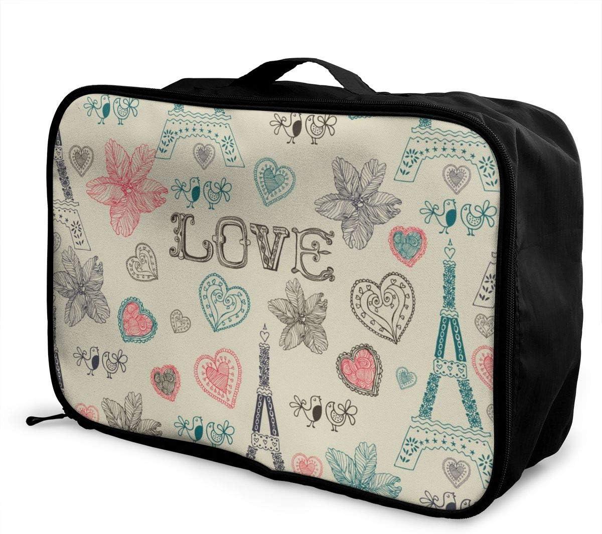 Yunshm Vintage Love Paris Pattern Vector Image Personalized Trolley Handbag Waterproof Unisex Large Capacity For Business Travel Storage