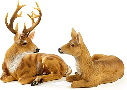 FRTCV Home Decor Statues and Figurines 12.99 Inch Height Buck Deer 8.66 Inch Height Doe Deer