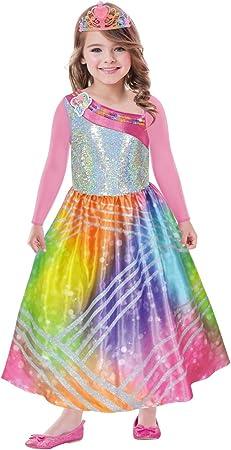 Disfraz para niños,Diseño: Barbie Rainbow Magic,Contenido: vestido con mangas rosa y corona,Edad: 3