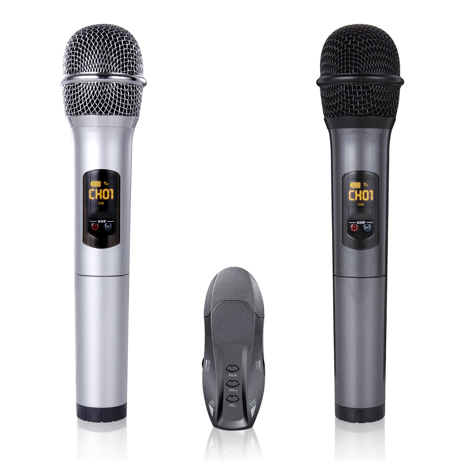 10-Channel UHF Bluetooth Wireless Dynamic Karaoke Microphone Receiver Set,  Dual Handheld Vocal Mic Microphone for Computer Speaker / Power Amplifier /