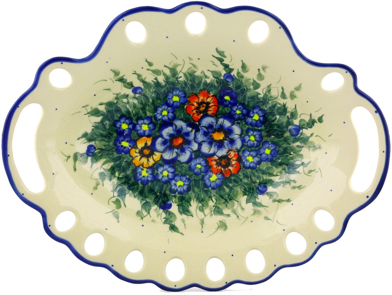 Polish Pottery 15½-inch Serving Platter / Bowl with Holes (Spring Bouquet Theme) Signature UNIKAT + Certificate of Authenticity