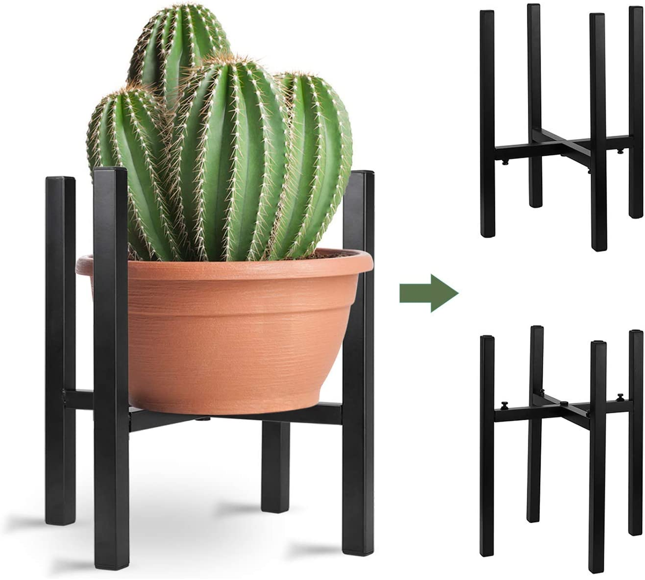 "Adjustable Metal Plant Stand for Indoor & Outdoor Plants, Mid Century Modern Planter Stands Width(10"" to 15.5"") Flower Pot Stand (Pot&Planter Not Included) ,Black"