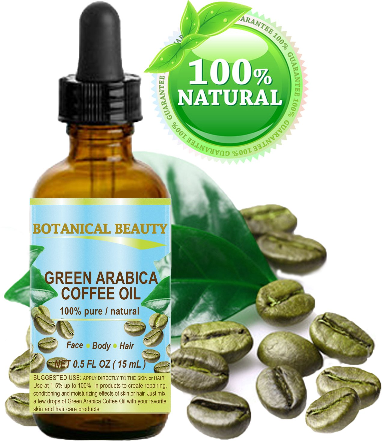GREEN ARABICA COFFEE OIL Brazilian. 0.5 Fl.oz- 15 ml. 100% Pure/Premium Quality. For Skin, Hair, Lip and Nail Care. Botanical Beauty