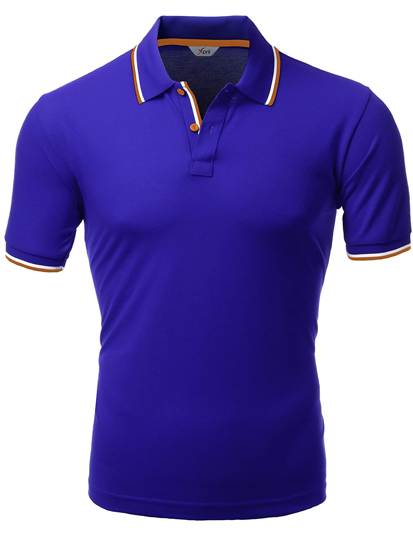 Xpril Mens Color Effect Collar Short Sleeve Polo T Shirt At Amazon