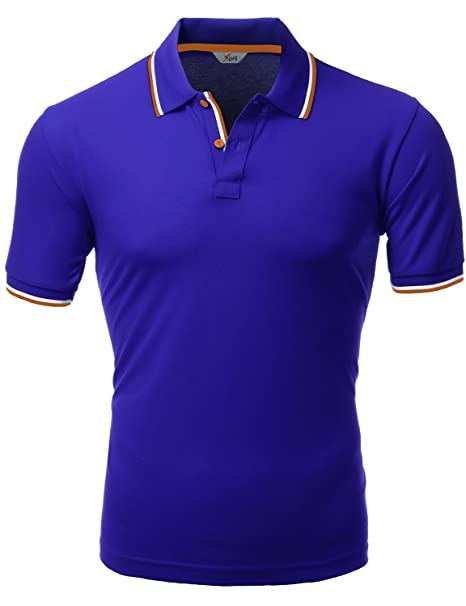 ce756bb8 Xpril Men's Color Effect Collar Short Sleeve Polo T Shirt at Amazon ...