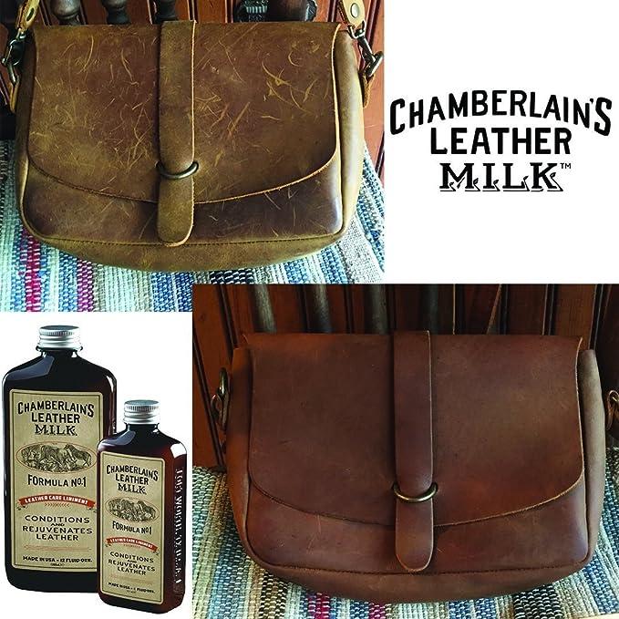 Chamberlains Leather Milk - Set de acondicionador y Limpiador de Cuero Naturales - No. 1 y 2 - con 2 Almohadillas de restauración - 0.35 L