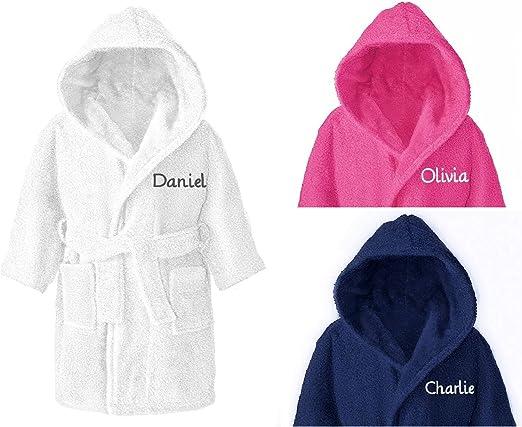 Albornoz con capucha para niños y niñas, 100% algodón, para niños de 4 a 12 años, algodón, Blanco, 8-10 años: Amazon.es: Hogar