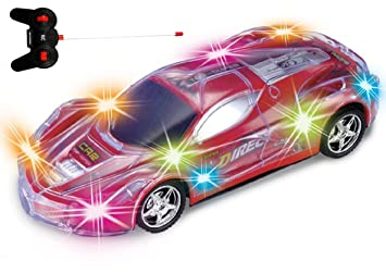 Review Haktoys Light Up Racing Red 1:24 Scale RC Sports Car with Spectacular Dazzling Flashing LED Lights | Radio Control Vehicle with Flexible Antenna | Safe and Durable | Gift, Toy for Kids, Boys and Girls