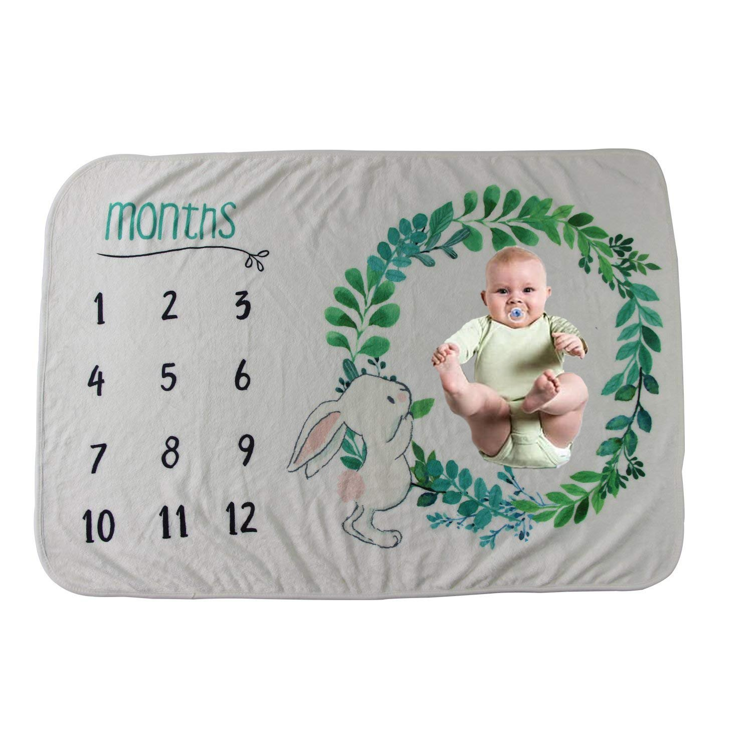 Personalized Gift for Baby Shower Made of Flannel Fleece Features Rabbit Floral Theme with Numbers Print MyGiftsMate Monthly Milestone Blanket for Unisex Baby Birthday Mother/'s /& Father/'s Day