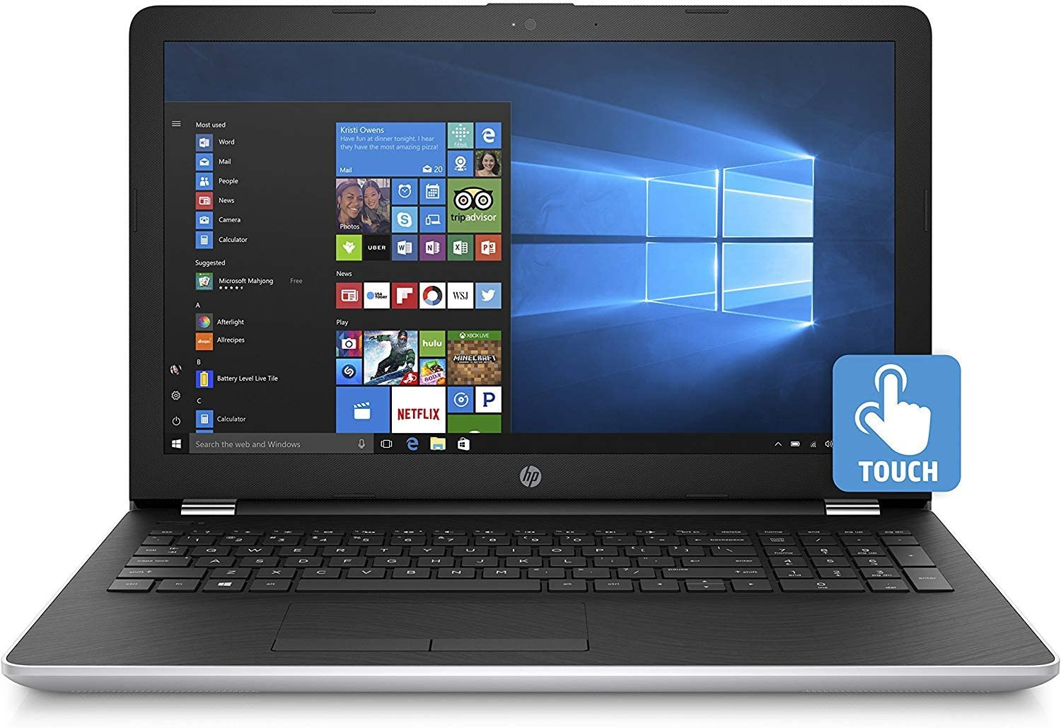 Newest HP 15.6-inch HD Touchscreen Display Laptop PC, Intel Dual Core i3-7100U 2.4GHz Processor, 8GB DDR4 SDRAM, 1TB HDD, Bluetooth, HDMI, 802.11ac WiFi, Windows 10-Natural Silver