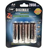 4 x AA (LR6,MN1500, R6) DIGIMAX Rechargeables 2850 mAh AA ULTRA HIGH CAPACITY -