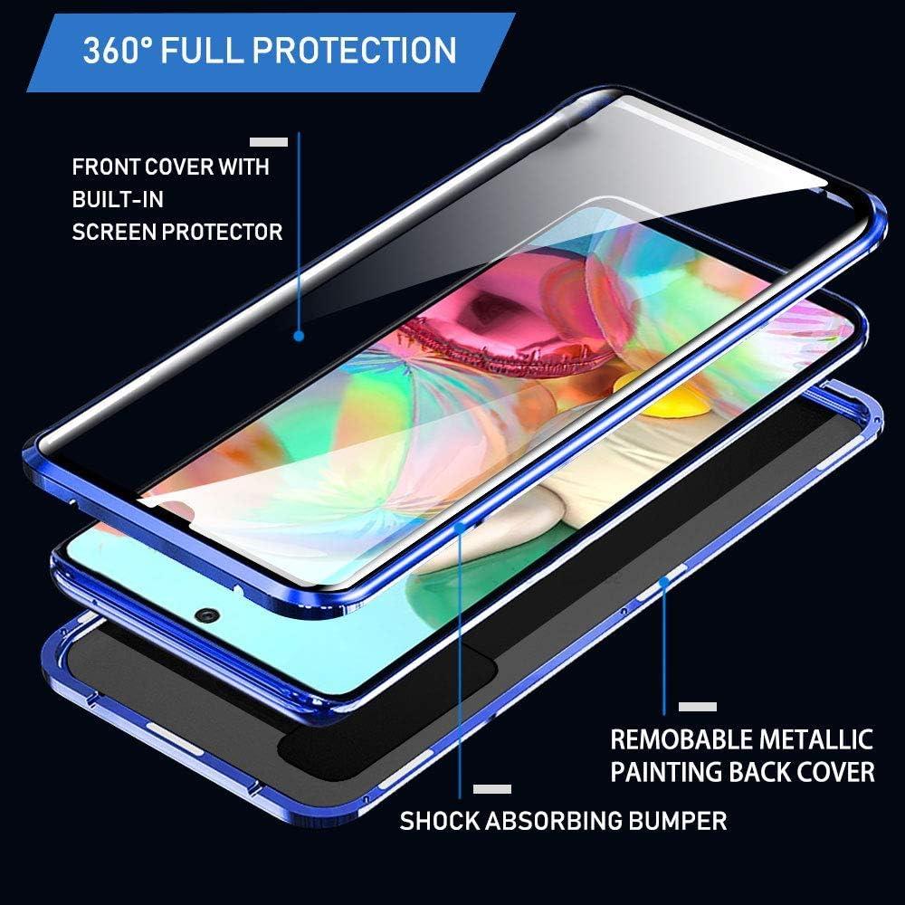Coque pour Samsung Galaxy A51 Adsorption Magn/étique Housse,Double C/ôt/és Transparent Verre tremp/é Protecteur Etui Housse Antichoc M/étal Cadre Flip Cover 360 Degr/é Protection Case Bleu