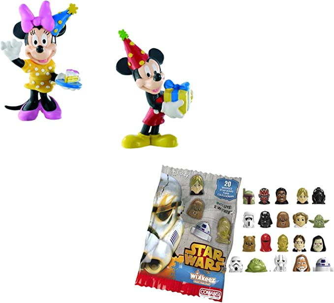 LOTE 2 FIGURAS Bullyland Mickey celebración - cumpleaños - Mickey - Minnie + REGALO: Amazon.es: Juguetes y juegos