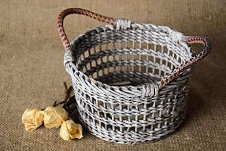 Unusual Handmade Woven Paper Basket Newspaper Craft Room Decor Ideas Small Gifts