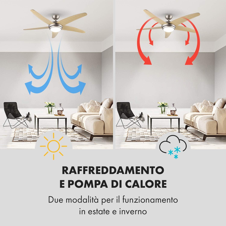 Ventilatore da Soffitto Pale in Noce 55 Watt Klarstein Bolero Telecomando 134 cm con Lampada