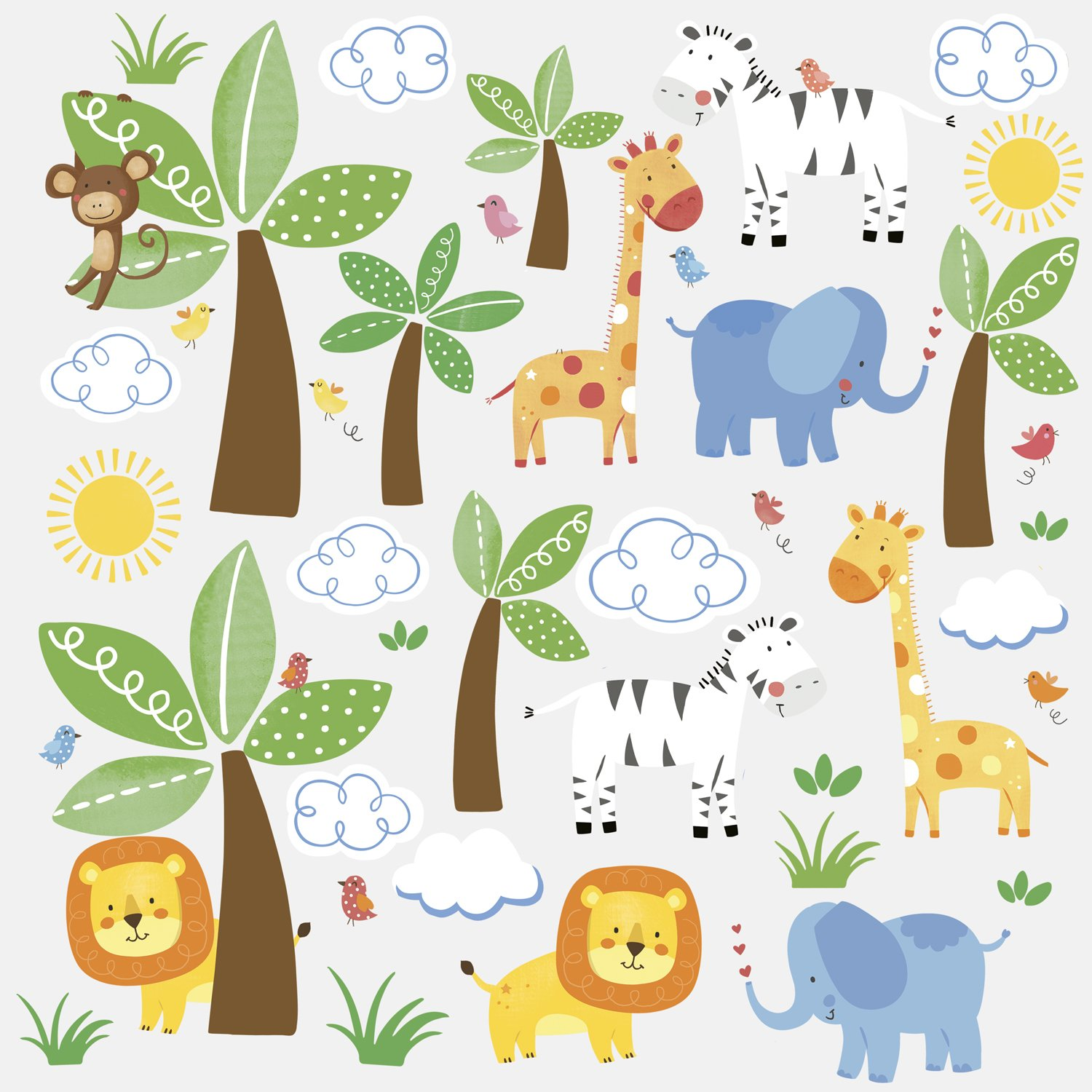RoomMates RMK2635SCS Jungle Friends Peel And Stick Wall Decals      Amazon.com Part 78