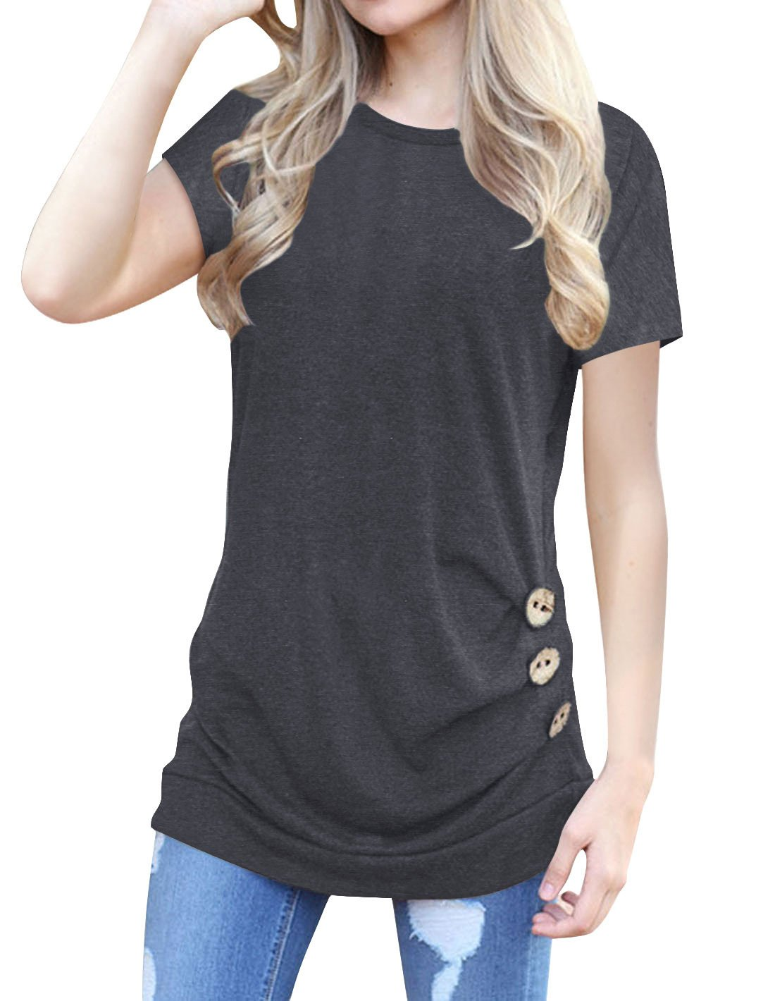 Lyxinpf Women Short Sleeve Casual Round Neck Tunics Tops Buttons Decor Blouse T-Shirt A-Dark Grey M